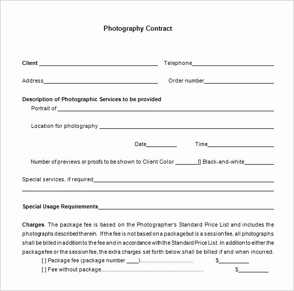 Simple Wedding Photography Contract Template Fresh 7 Mercial Graphy Contract Templates Free Word