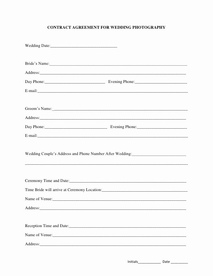 Simple Wedding Photography Contract Template Fresh Free Printable Wedding Graphy Contract Template form