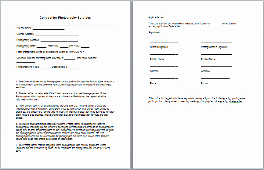 Simple Wedding Photography Contract Template Fresh Graphy Contract Template