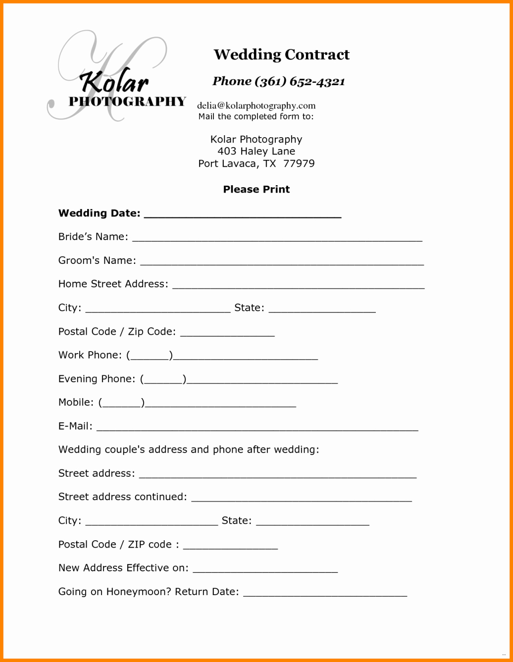 Simple Wedding Photography Contract Template Lovely 12 Simple Photography Contract