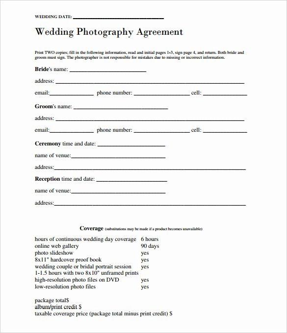 Simple Wedding Photography Contract Template Lovely 17 Wedding Template Doc Excel Pdf Psd Indesign