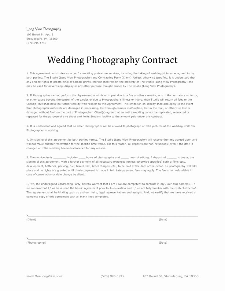 Simple Wedding Photography Contract Template Luxury 11 Best Images About Wedding Photography Contract Template