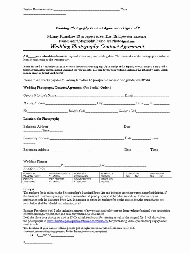 Simple Wedding Photography Contract Template Luxury 5 Free Wedding Graphy Contract Templates