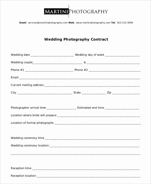 Simple Wedding Photography Contract Template Luxury Graphy Contract Example 11 Free Word Pdf Documents