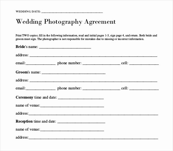 Simple Wedding Photography Contract Template New Wedding Templates – 15 Free Word Excel Pdf Psd