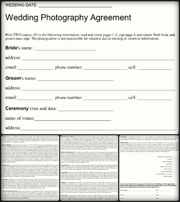 Simple Wedding Photography Contract Template Unique Simple Wedding Graphy Agreement Example – Word