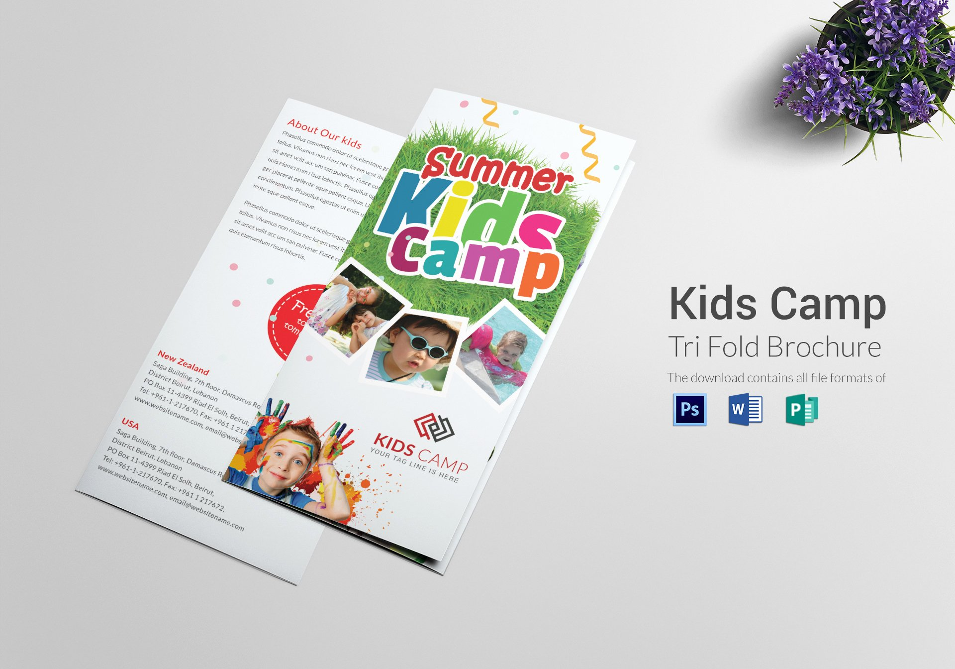 Single Fold Brochure Template Beautiful Kids Camp Tri Folding Brochure Design Template In Psd
