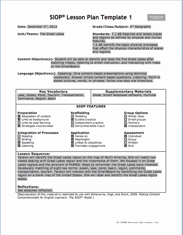 Siop Lesson Plan Template 3 Best Of Siop Lesson Plan & Reflection Jessica S Ell Portfolio
