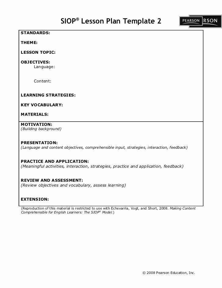 Siop Lesson Plan Template 3 Best Of Siop Lesson Plan Template Pearson Siop Lesson Plan