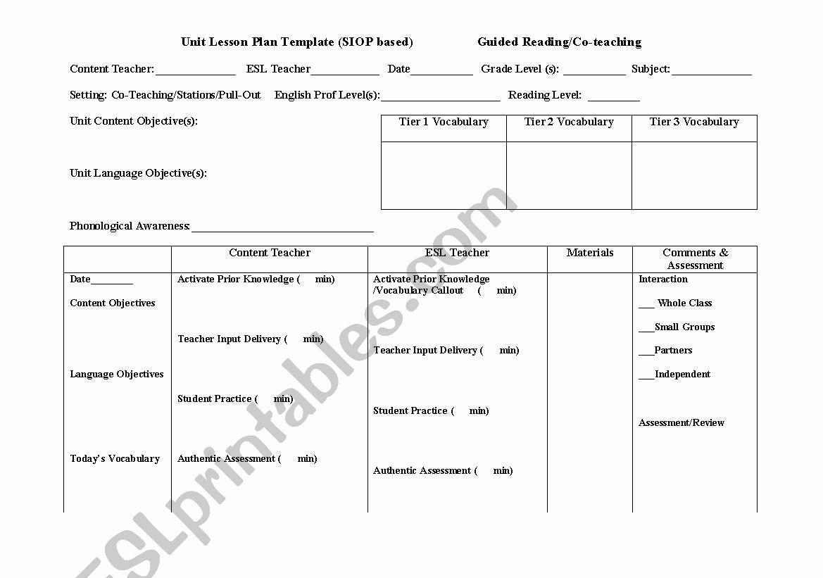 Siop Lesson Plan Template 3 Elegant English Worksheets Siop Lesson Plan Template for Co Teaching