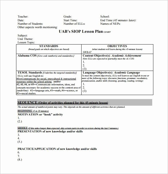 Siop Lesson Plan Template 3 Elegant Siop Lesson Plan Template 3 Word Document