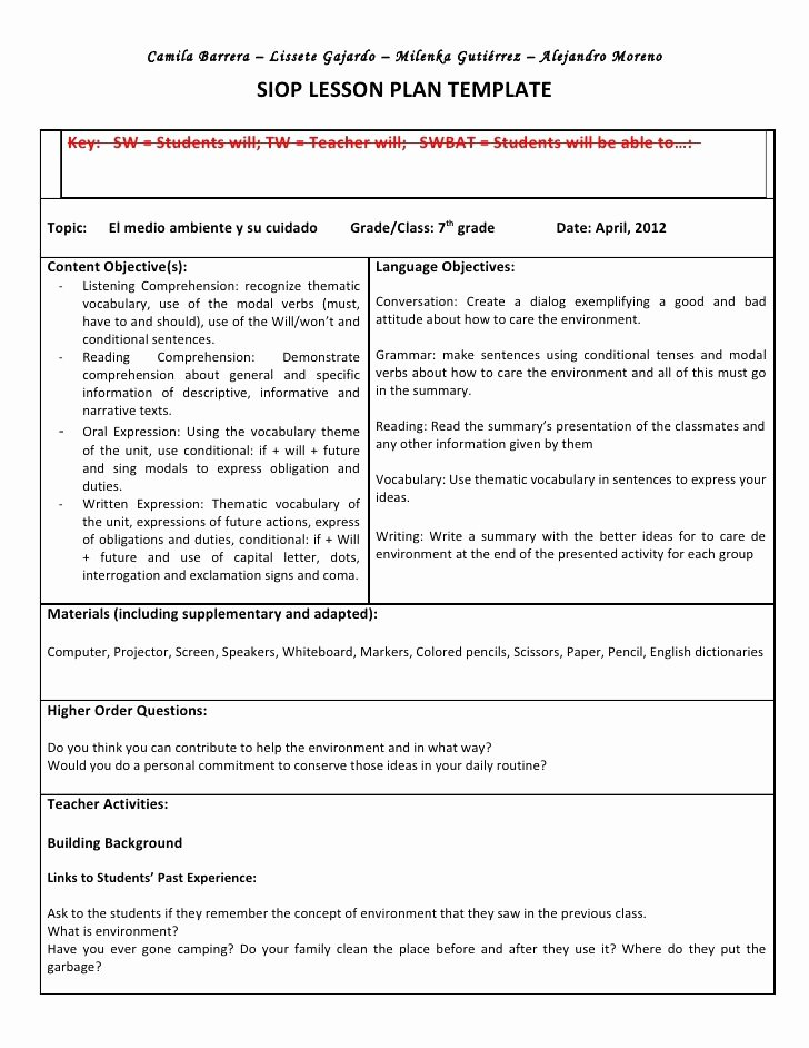 Siop Lesson Plan Template 3 Elegant Siop Lesson Plan Template 3 Word Document Shmpfo