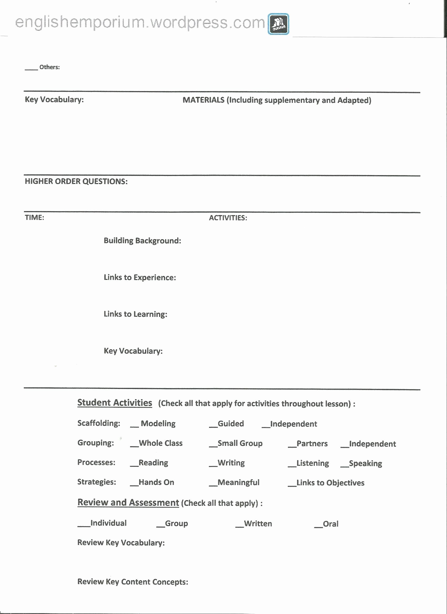 Siop Lesson Plan Template 3 Inspirational Siop Lesson Plan Example 2nd Grade for First