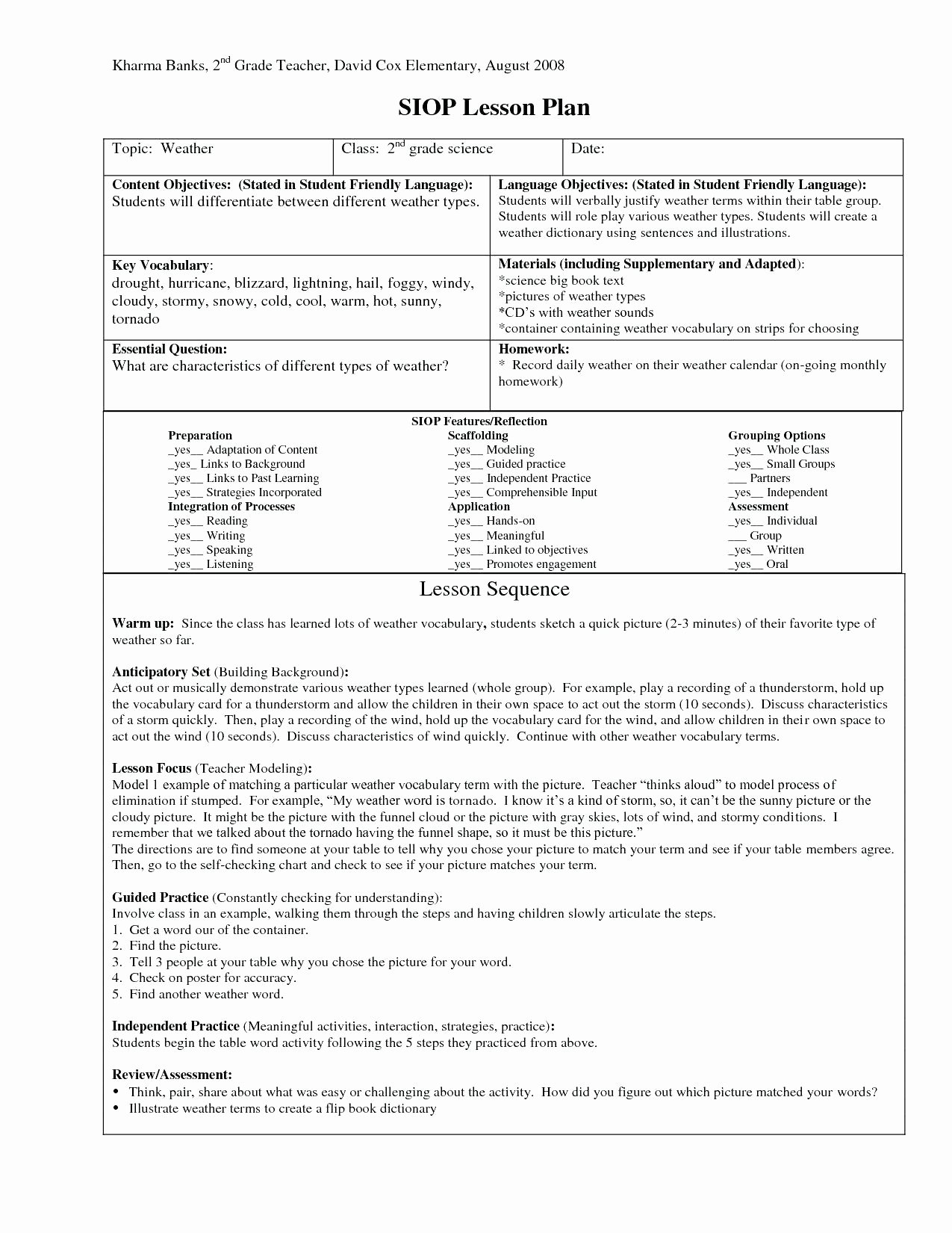 Siop Lesson Plan Template 3 New Siop Lesson Plan Example 2nd Grade for First
