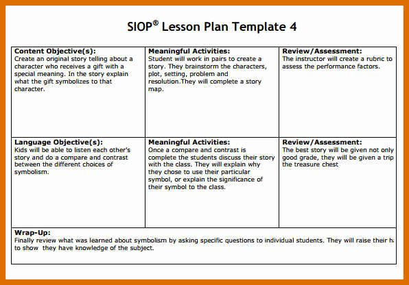 Siop Lesson Plan Template 3 Unique 3 4 Siop Lesson Plan Examples