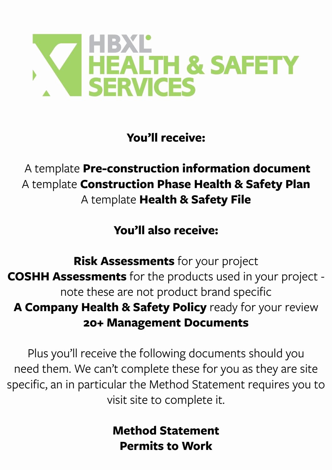 Site Safety Plan Template Awesome Health & Safety Pack Sample by Hbxl Estimating Service issuu