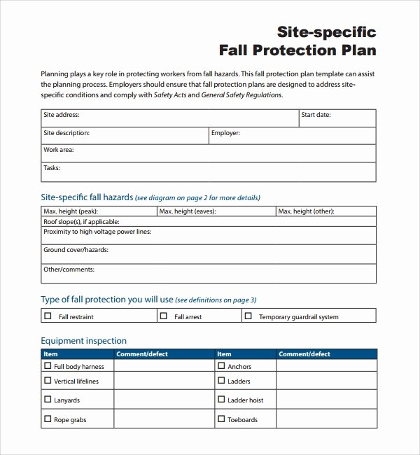 Site Safety Plan Template Beautiful Sample Fall Protection Plan Template 9 Free Documents