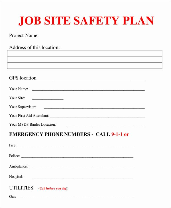 Site Safety Plan Template Elegant Job Plan Templates 10 Free Samples Examples format