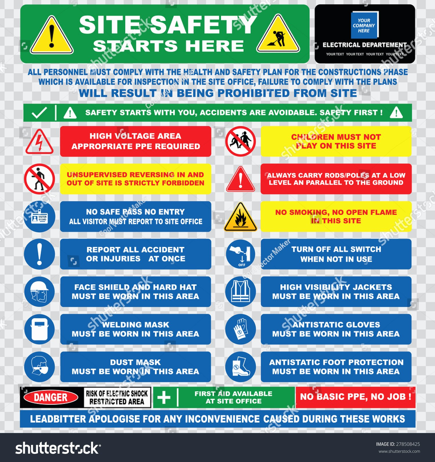 Site Safety Plan Template Lovely Site Safety Starts Here Site Safety Stock Vector