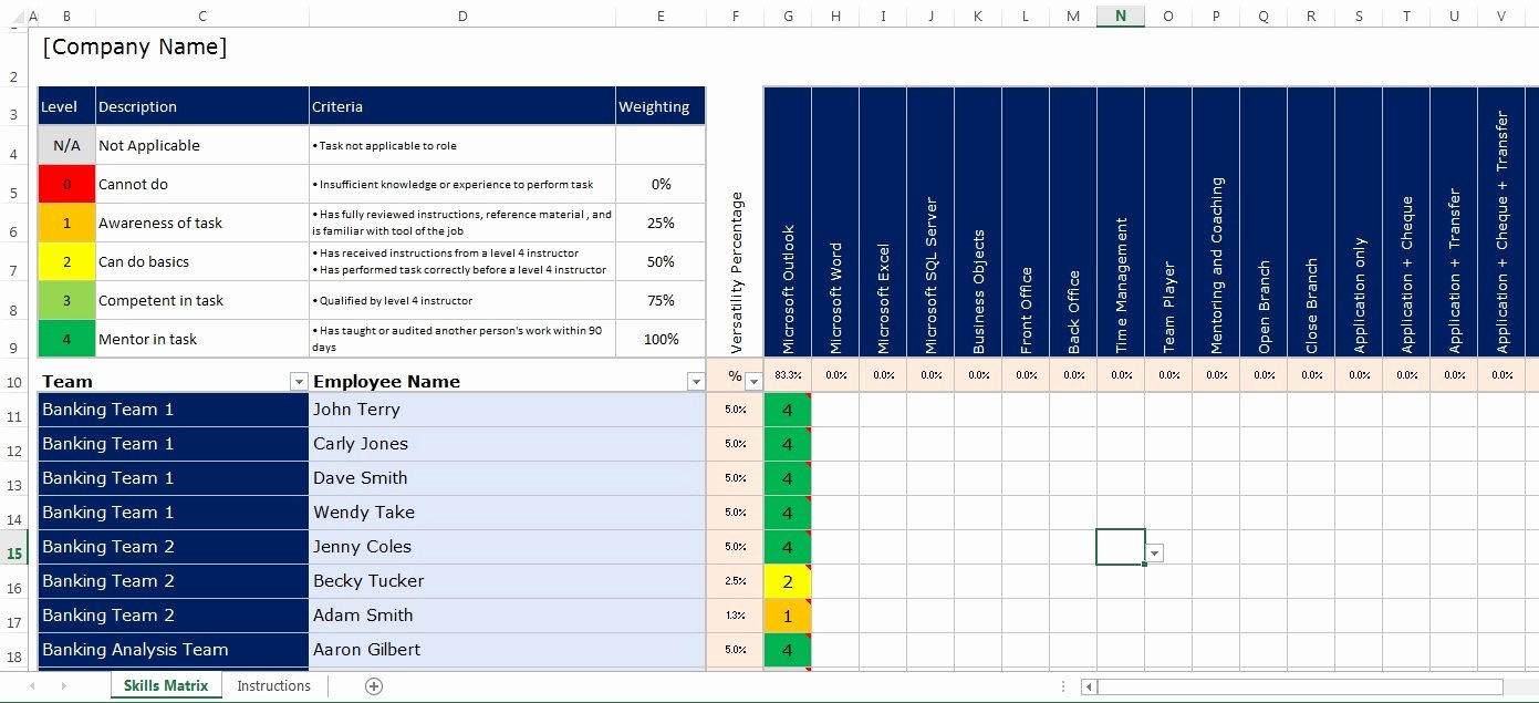Skills Matrix Template Excel Beautiful Microsoft Excel Spreadsheet Employee Staff Fice Skills