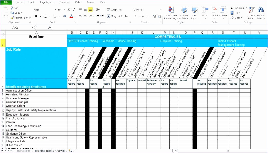 Skills Matrix Template Excel Inspirational 10 Training Matrix Excel Template Exceltemplates