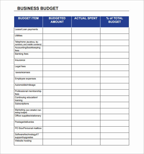 Small Business Budget Template New 10 Sample Business Bud Templates