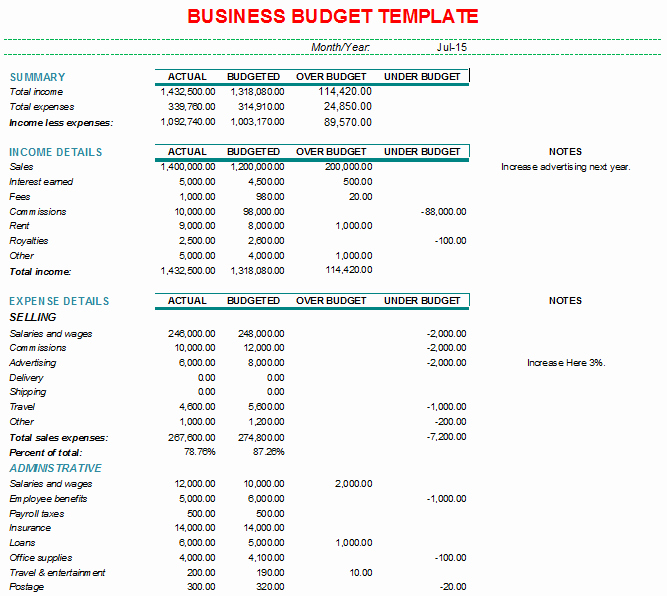 Small Business Budget Template Unique Bud Template for Small Business
