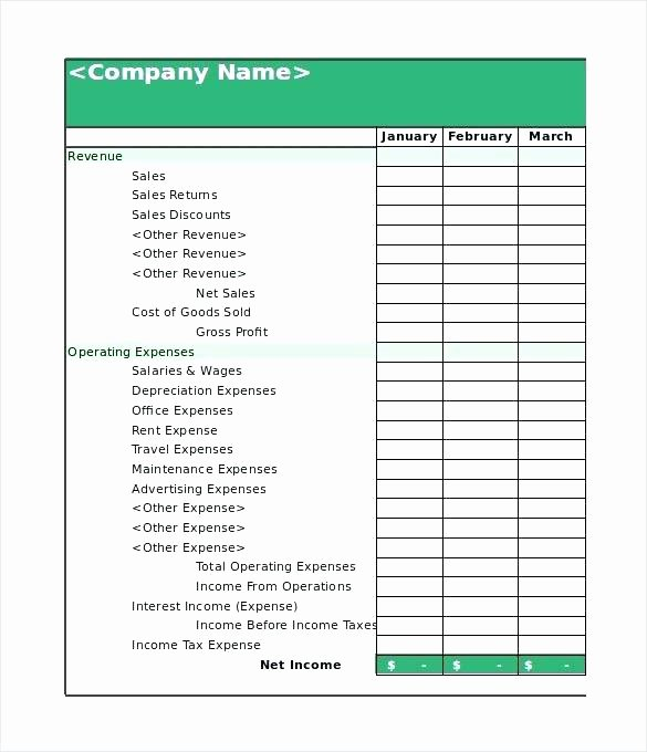 Small Business Financial Statement Template Awesome Printable Financial Statement Personal Blank form Excel