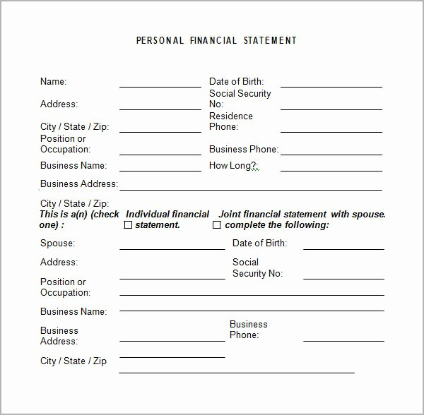 Small Business Financial Statement Template Beautiful Personal Financial Statement Templates 9 Download Free