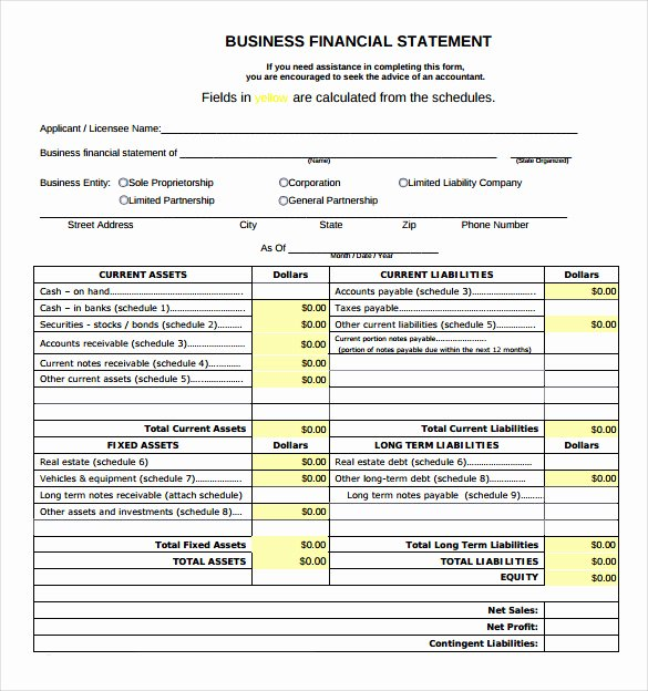 Small Business Financial Statement Template Fresh Financial Statement Template for Small Business – Amandae