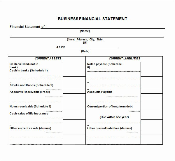 Small Business Financial Statement Template Luxury 7 Financial Statement Templates