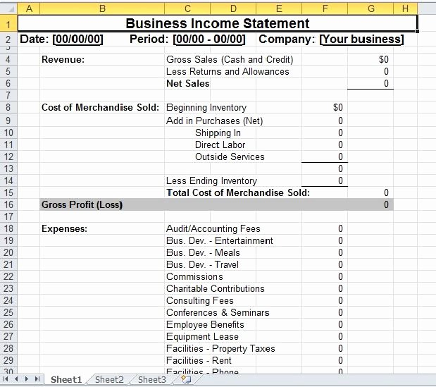 Small Business Income Statement Template Awesome Simple Business In E Statement Template