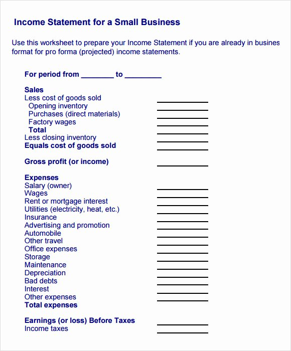 Small Business Income Statement Template Elegant 10 Sample In E Statements