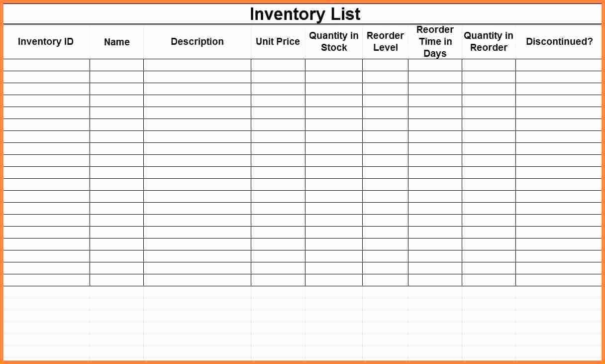 Small Business Inventory Spreadsheet Template Beautiful Blank Small Business Inventory Control Checklist