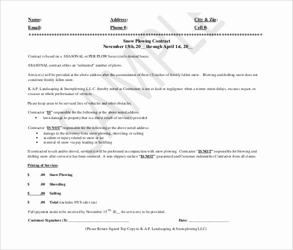 Snow Removal Bid Template Beautiful 20 Snow Plowing Contract Templates Google Docs Pdf