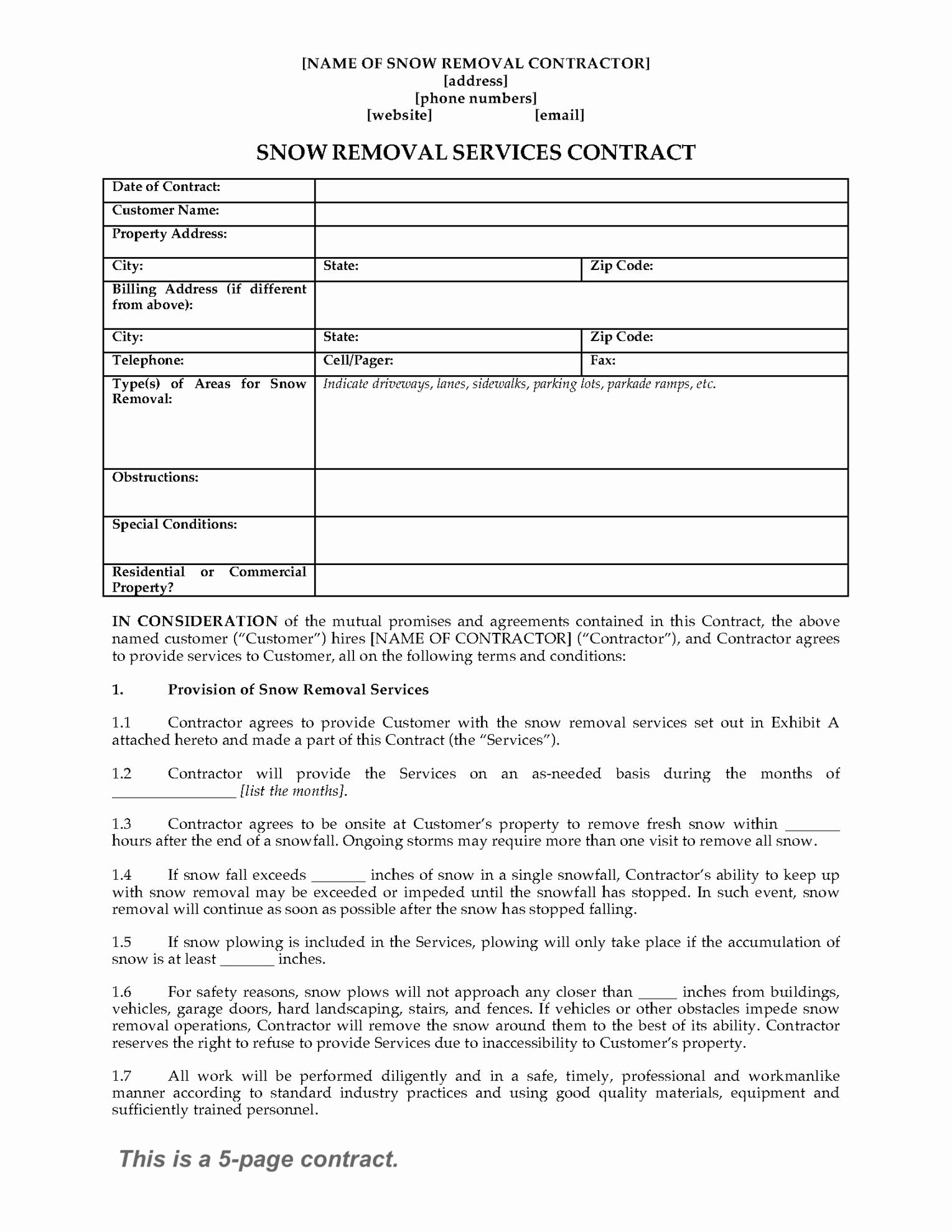 Snow Removal Bid Template Lovely Snow Removal Contract form