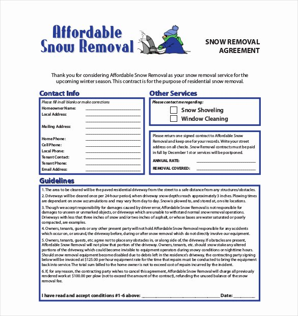 Snow Removal Bid Template New 20 Snow Plowing Contract Templates Google Docs Pdf
