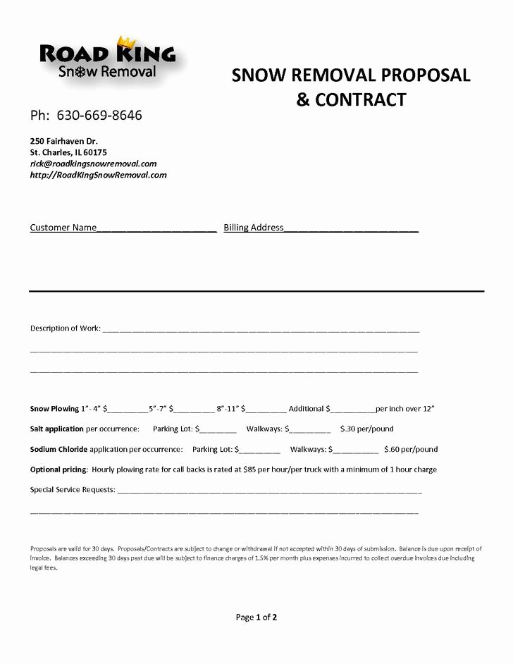 Snow Removal Bid Template Unique 20 Snow Plowing Contract Templates Free Download