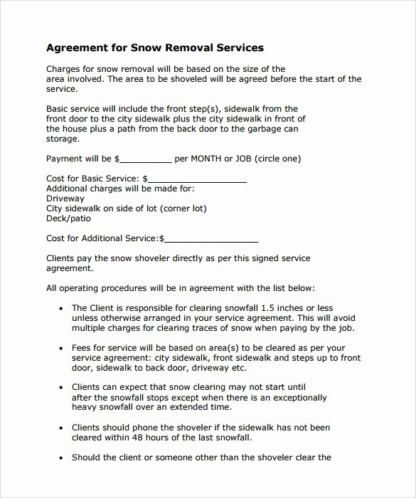 Snow Removal Bid Template Unique Snow Plowing Contract Template 7 Download Free