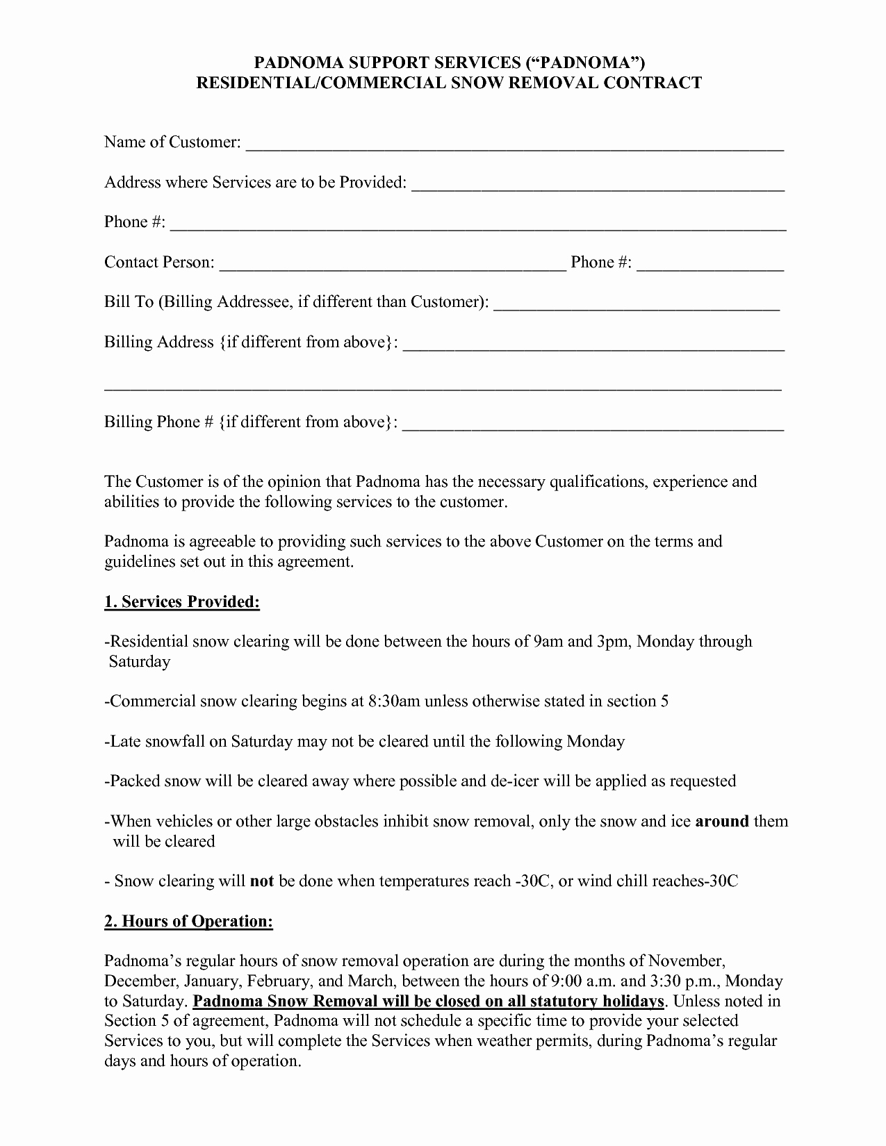 Snow Removal Contract Template Inspirational 10 Best Of Snow Plow Proposal forms Snow Removal