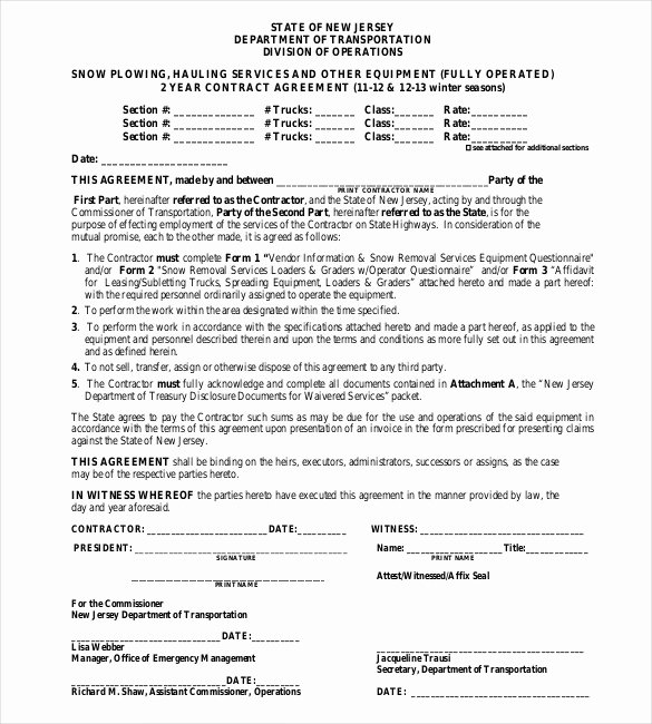 Snow Removal Contract Template Luxury 20 Snow Plowing Contract Templates Google Docs Pdf