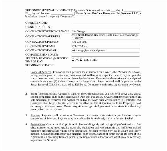 Snow Removal Contract Template New Free Snow Removal Contract Templates Invitation Template