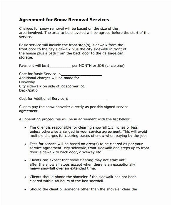 Snow Removal Contract Template Unique Snow Removal Contract Template Invitation Template