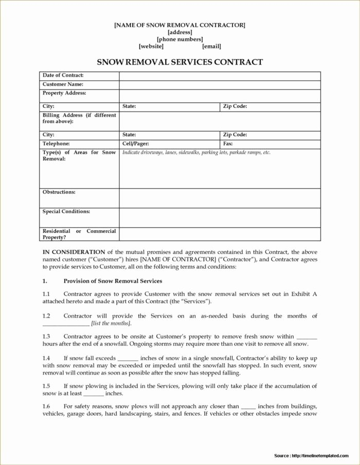 Snow Removal Contracts Template Beautiful Snow Plowing Contract forms Free form Resume Examples