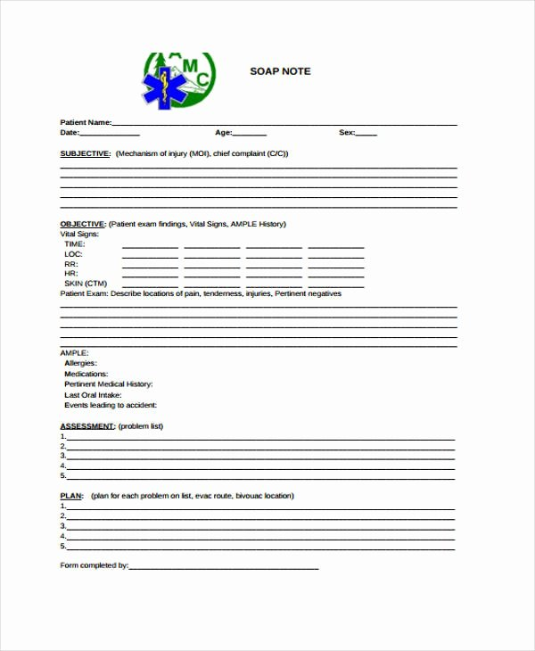 Soap Note Template Pdf Fresh 28 Free Note Templates