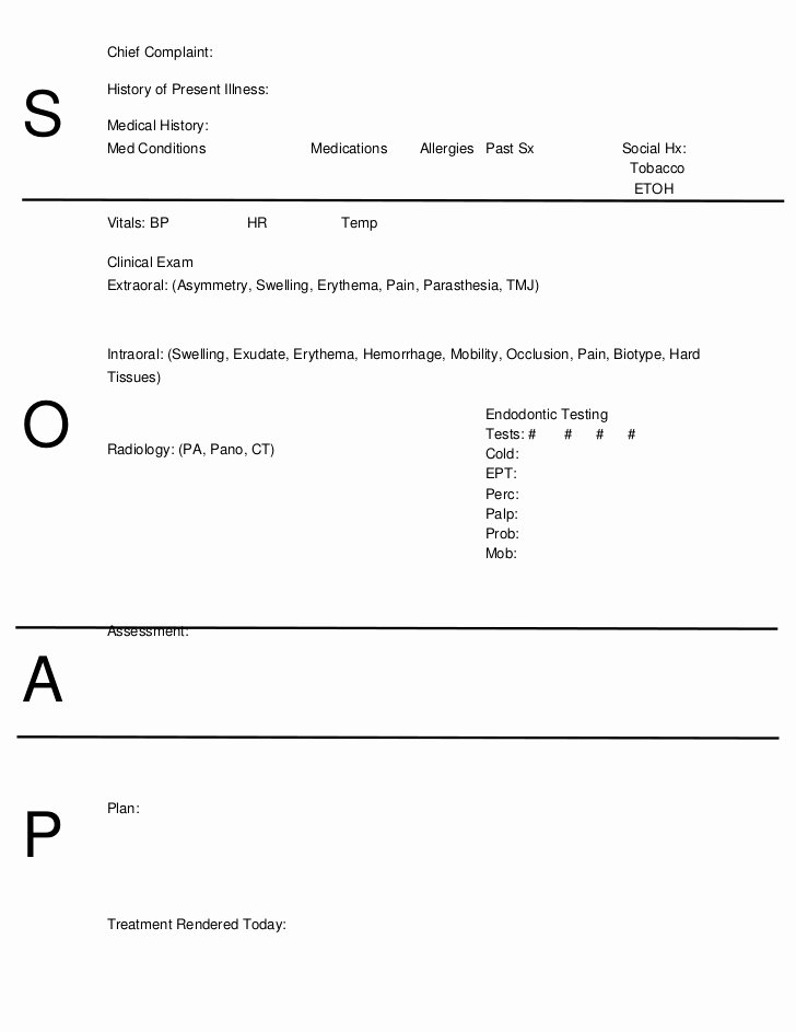 Soap Note Template Word Elegant soap Notes Dentistry Word