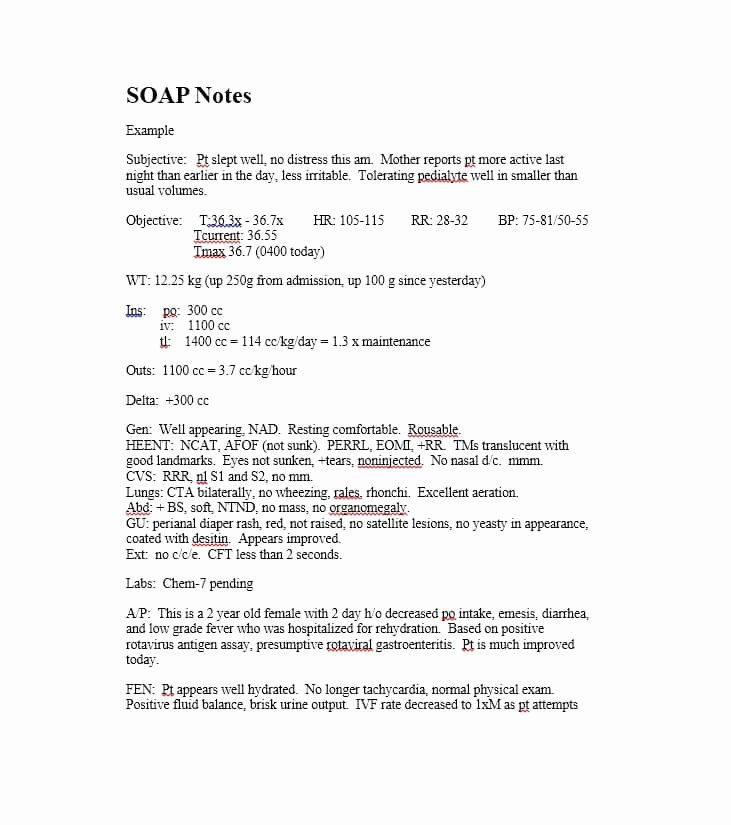 Soap Progress Notes Template New 40 Fantastic soap Note Examples & Templates Template Lab