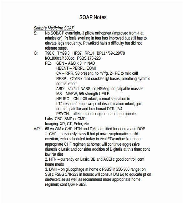 Soap therapy Note Template Beautiful 11 soap Note Templates – Free Sample Example format