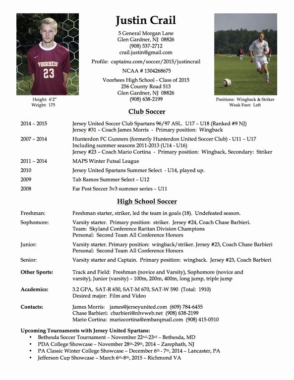 Soccer Coach Resume Template Awesome College soccer Player Resume soccer