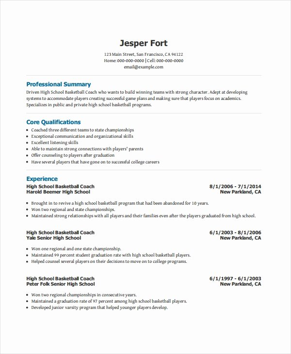 Soccer Coach Resume Template Beautiful Coach Resume Template 6 Free Word Pdf Document